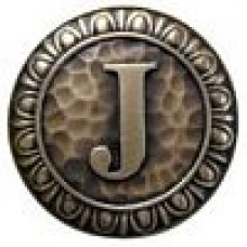 Initial J  Cabinet Knob - Antique Brass (NHK-189-AB) by Notting Hill