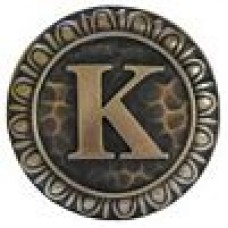Initial K  Cabinet Knob - Antique Brass (NHK-190-AB) by Notting Hill