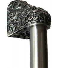 "Acanthus/Plain Bar Appliance Pull (8"" cc) - Brilliant Pewter (NHO-500-BP-12PL) by Notting Hill"