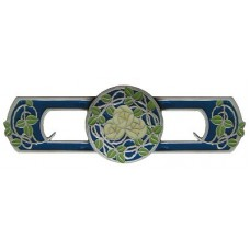 "Delaney's Rose/Blue Drawer Pull (3"" cc) - Antique Pewter (Enameled) (NHP-671-AP-B) by Notting Hill"