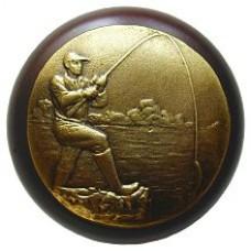 Catch of the Day/Dark Walnut Cabinet Knob - Antique Brass (NHW-707W-AB) by Notting Hill