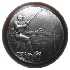 Catch of the Day/Dark Walnut Cabinet Knob - Antique Pewter (NHW-707W-AP) by Notting Hill