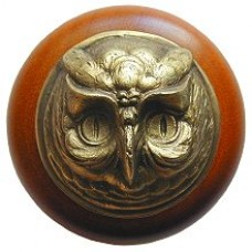 Wise Owl/Cherry Cabinet Knob - Antique Brass (NHW-711C-AB) by Notting Hill