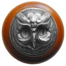 Wise Owl/Cherry Cabinet Knob - Antique Pewter (NHW-711C-AP) by Notting Hill