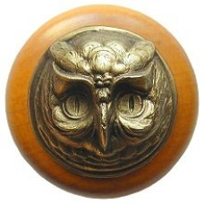 Wise Owl/Maple Cabinet Knob - Antique Brass (NHW-711M-AB) by Notting Hill
