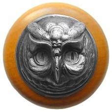 Wise Owl/Maple Cabinet Knob - Antique Pewter (NHW-711M-AP) by Notting Hill