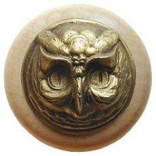 Wise Owl/Natural Cabinet Knob - Antique Brass (NHW-711N-AB) by Notting Hill
