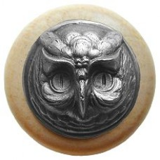 Wise Owl/Natural Cabinet Knob - Antique Pewter (NHW-711N-AP) by Notting Hill