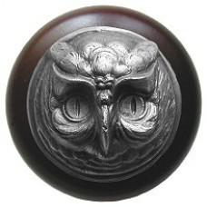 Wise Owl/Dark Walnut Cabinet Knob - Antique Pewter (NHW-711W-AP) by Notting Hill