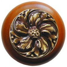 Chrysanthemum/Cherry Cabinet Knob - Antique Brass (NHW-714C-AB) by Notting Hill