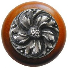 Chrysanthemum/Cherry Cabinet Knob - Antique Pewter (NHW-714C-AP) by Notting Hill