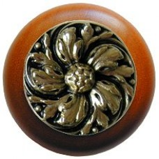 Chrysanthemum/Cherry Cabinet Knob - Brite Brass (NHW-714C-BB) by Notting Hill