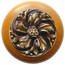Chrysanthemum/Maple Cabinet Knob - Antique Brass (NHW-714M-AB) by Notting Hill