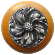 Chrysanthemum/Maple Cabinet Knob - Antique Pewter (NHW-714M-AP) by Notting Hill
