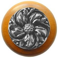 Chrysanthemum/Maple Cabinet Knob - Satin Nickel (NHW-714M-SN) by Notting Hill