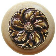 Chrysanthemum/Natural Cabinet Knob - Antique Brass (NHW-714N-AB) by Notting Hill