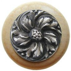 Chrysanthemum/Natural Cabinet Knob - Antique Pewter (NHW-714N-AP) by Notting Hill