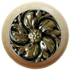 Chrysanthemum/Natural Cabinet Knob - Brite Brass (NHW-714N-BB) by Notting Hill