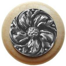Chrysanthemum/Natural Cabinet Knob - Satin Nickel (NHW-714N-SN) by Notting Hill