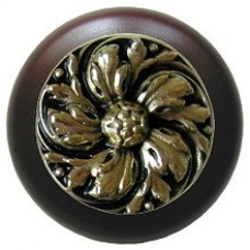 Chrysanthemum/Dark Walnut Cabinet Knob - Brite Brass (NHW-714W-BB) by Notting Hill