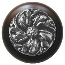 Chrysanthemum/Dark Walnut Cabinet Knob - Satin Nickel (NHW-714W-SN) by Notting Hill