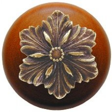 Opulent Flower/Cherry Cabinet Knob - Antique Brass (NHW-725C-AB) by Notting Hill