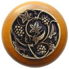 Grapevines/Maple Cabinet Knob - Antique Brass (NHW-729M-AB) by Notting Hill
