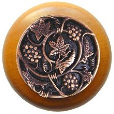 Grapevines/Maple Cabinet Knob - Antique Copper (NHW-729M-AC) by Notting Hill