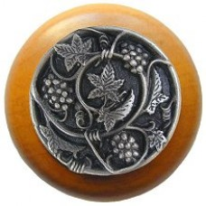 Grapevines/Maple Cabinet Knob - Antique Pewter (NHW-729M-AP) by Notting Hill