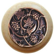 Grapevines/Natural Cabinet Knob - Antique Copper (NHW-729N-AC) by Notting Hill