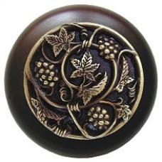 Grapevines/Dark Walnut Cabinet Knob - Antique Brass (NHW-729W-AB) by Notting Hill