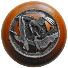 Crane Dance/Cherry Cabinet Knob - Antique Pewter (NHW-737C-AP) by Notting Hill