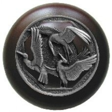 Crane Dance/Dark Walnut Cabinet Knob - Antique Pewter (NHW-737W-AP) by Notting Hill