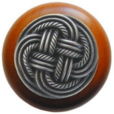 Classic Weave/Cherry Cabinet Knob - Antique Pewter (NHW-739C-AP) by Notting Hill