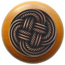 Classic Weave/Maple Cabinet Knob - Antique Copper (NHW-739M-AC) by Notting Hill
