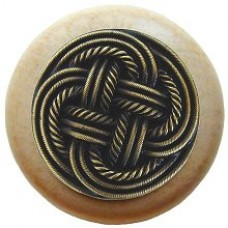 Classic Weave/Natural Cabinet Knob - Antique Brass (NHW-739N-AB) by Notting Hill