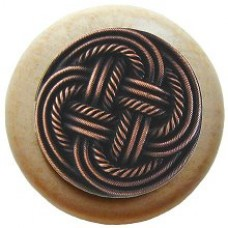 Classic Weave/Natural Cabinet Knob - Antique Copper (NHW-739N-AC) by Notting Hill