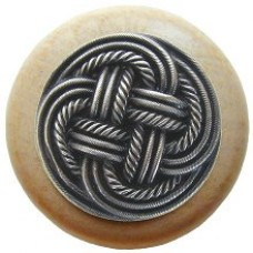 Classic Weave/Natural Cabinet Knob - Antique Pewter (NHW-739N-AP) by Notting Hill