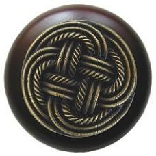 Classic Weave/Dark Walnut Cabinet Knob - Antique Brass (NHW-739W-AB) by Notting Hill