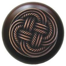 Classic Weave/Dark Walnut Cabinet Knob - Antique Copper (NHW-739W-AC) by Notting Hill