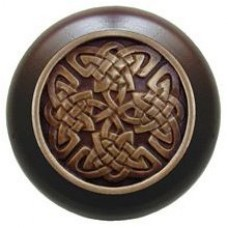 Celtic Isles/Dark Walnut Cabinet Knob - Antique Brass (NHW-757W-AB) by Notting Hill