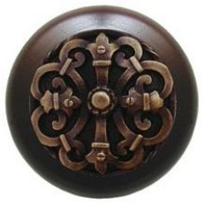 Chateau/Dark Walnut Cabinet Knob - Antique Brass (NHW-776W-AB) by Notting Hill