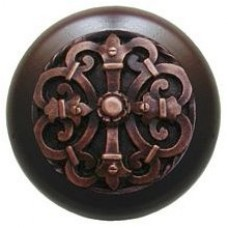 Chateau/Dark Walnut Cabinet Knob - Antique Copper (NHW-776W-AC) by Notting Hill