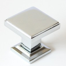 "Modern 1 1/8"" Modern Square Knob (991CH) Chrome by Rusticware"