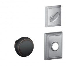 Andover Knob w/ Addison Rosette Tubular Entry Set Interior Trim Kit - F Series (F59AND) by Schlage
