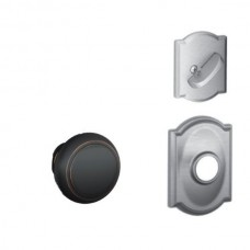 Andover Knob w/ Camelot Rosette Tubular Entry Set Interior Trim Kit - F Series (F59AND) by Schlage