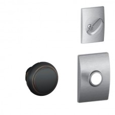 Andover Knob w/ Collins Rosette Tubular Entry Set Interior Trim Kit - F Series (F59AND) by Schlage