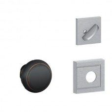 Andover Knob w/ Upland Rosette Tubular Entry Set Interior Trim Kit - F Series (F59AND) by Schlage