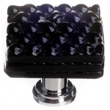 "Texture Black 1-1/4"" Square Glass Cabinet Knob (K-1000) by Sietto"