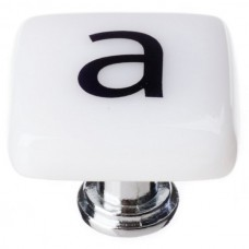 "New Vintage Letter a White 1-1/4"" Square Glass Cabinet Knob (K-1100) by Sietto"
